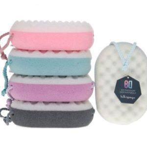 Bath sponge with scrubside