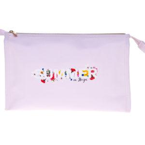 Borsa cosmetica – misura large – rosa con logo stampato.