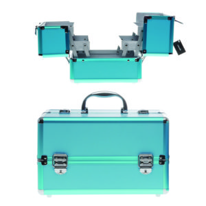 Beauty case professionale in alluminio. Colore blu 22x16x18 cm
